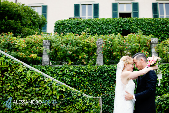 Italian wedding style creative portrait bride and groom