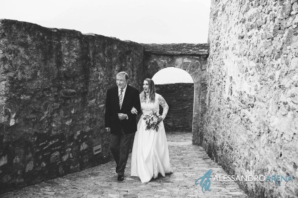 foto matrimonio castello Sasso Corbaro Bellinzona - Il padre e la sposa