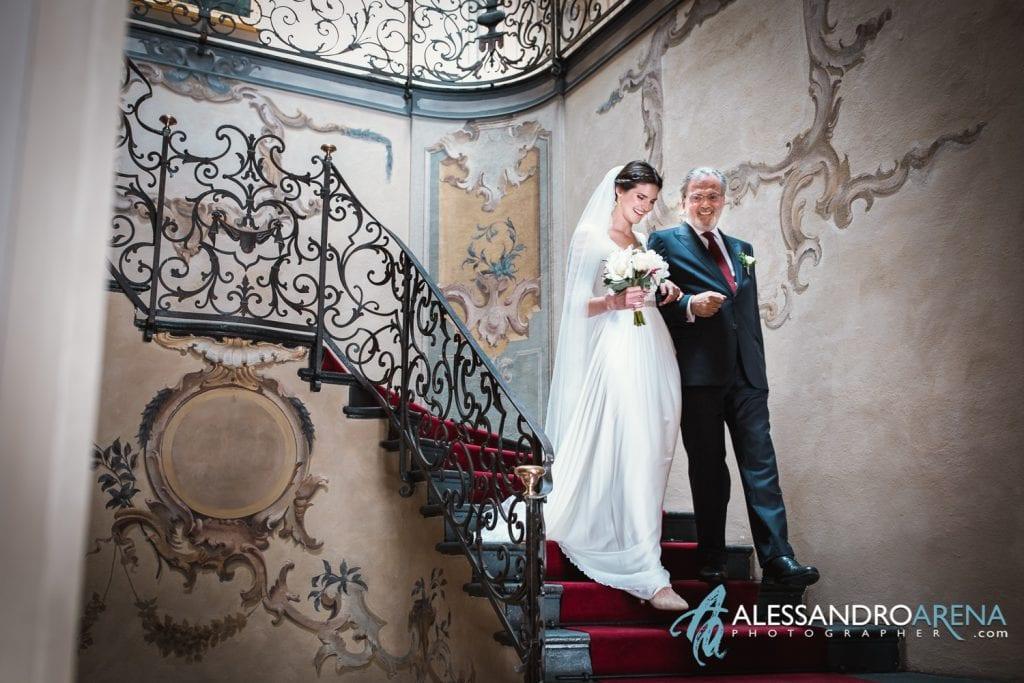 Sposa e sua padre - Matrimonio a Varese Location Villa Esengrini Montalbano - Alessandro Arena Fotografo