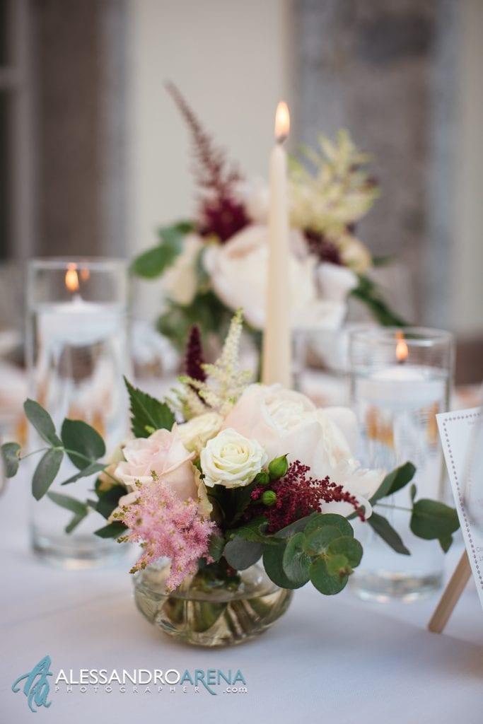 Allestimento floreale - Matrimonio a Villa Esengrini Montalbano Varese - Allestimenti Sala
