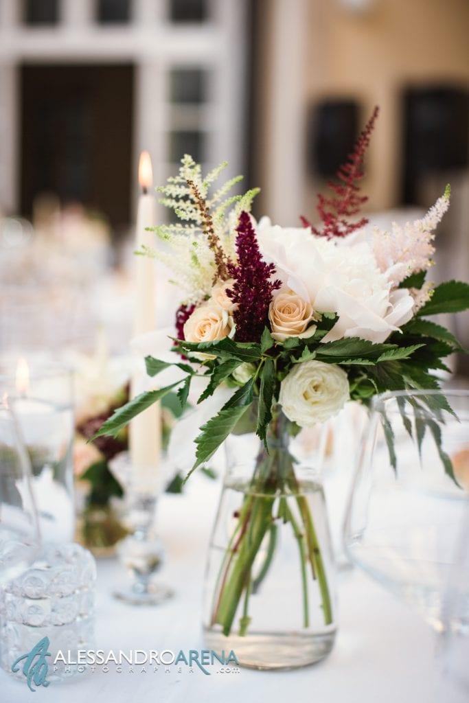 Centro tavola - Matrimonio a Villa Esengrini Montalbano Varese - Allestimenti Sala