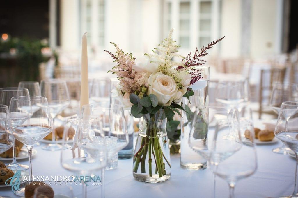 Centro tavola floreale - Matrimonio a Villa Esengrini Montalbano Varese