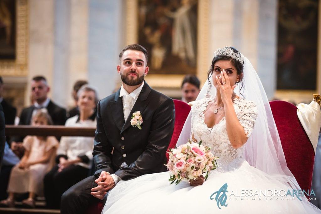 Emozione della sposa - matrimonio chiesa Collegiata Bellinzona
