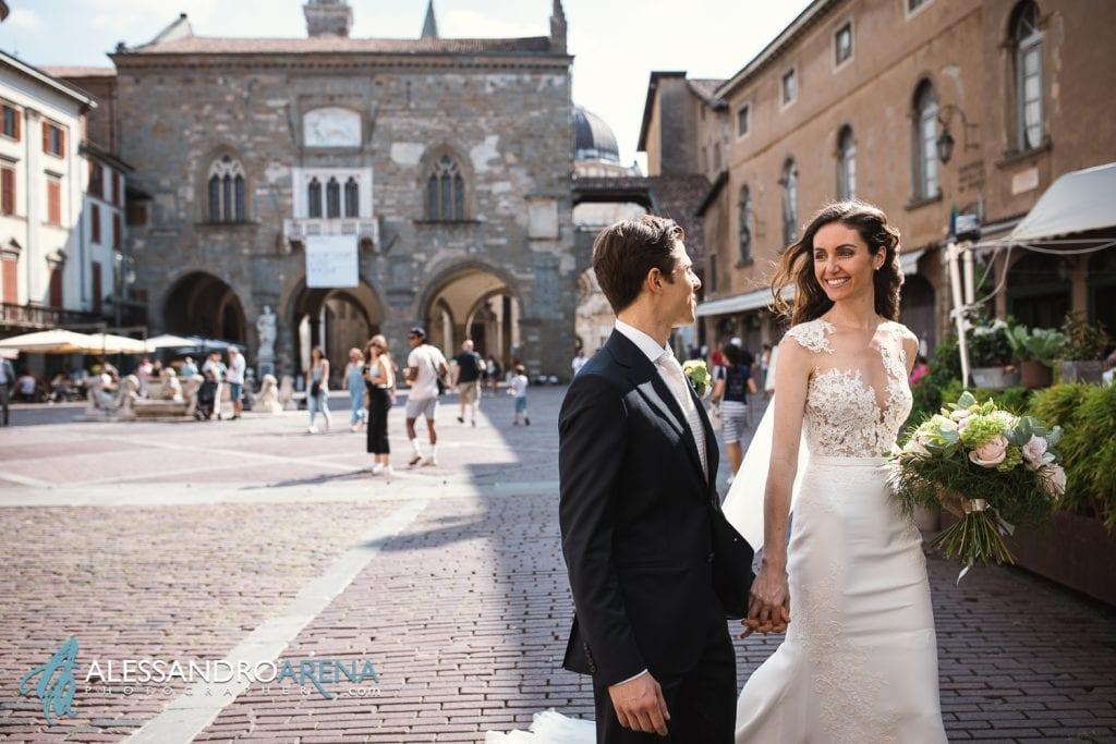 Sposi a piazza vecchia - Bergamo Città Alta