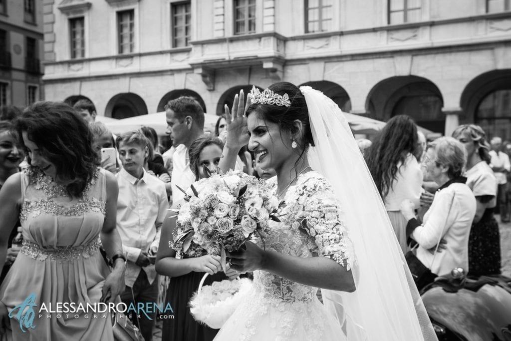 La sposa all'uscita della chiesa di Bellinzona