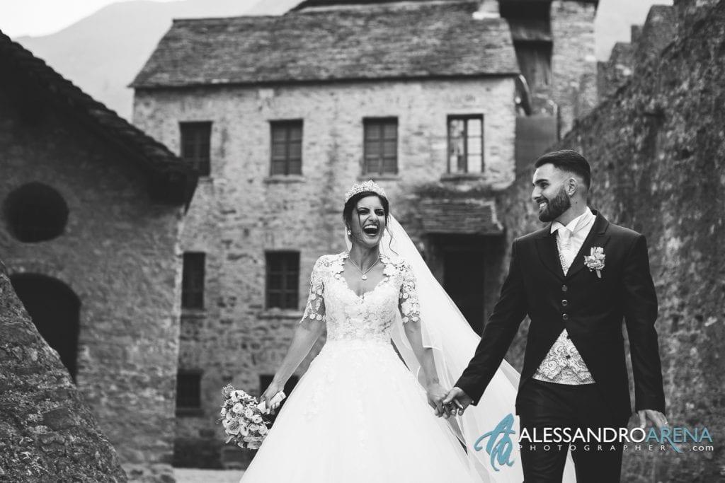 Felicità degli sposi al castello di Montebello Bellinzona