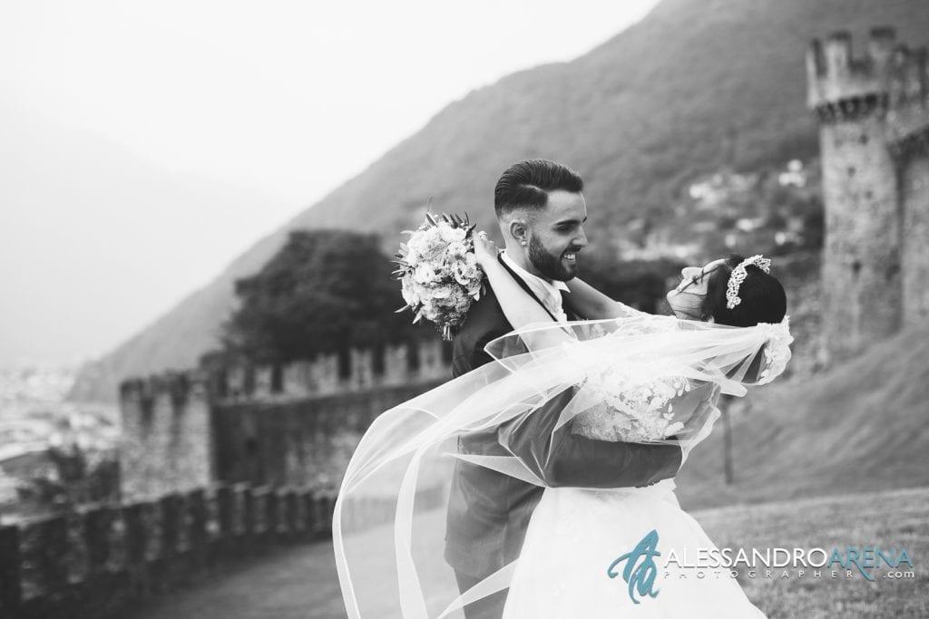 Foto sposi al castello di Montebello Bellinzona